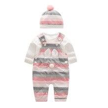 2020 moda bebek kız giysileri setleri ilkbahar sonbahar uzun kollu giyim Romper şapka ile bebek seti giysi yenidoğan giysileri