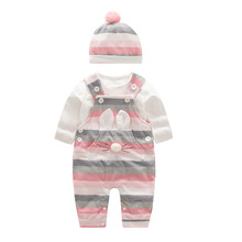 2020 ファッション女の赤ちゃんはセット春の秋の服長袖ロンパース帽子セット服新生児服