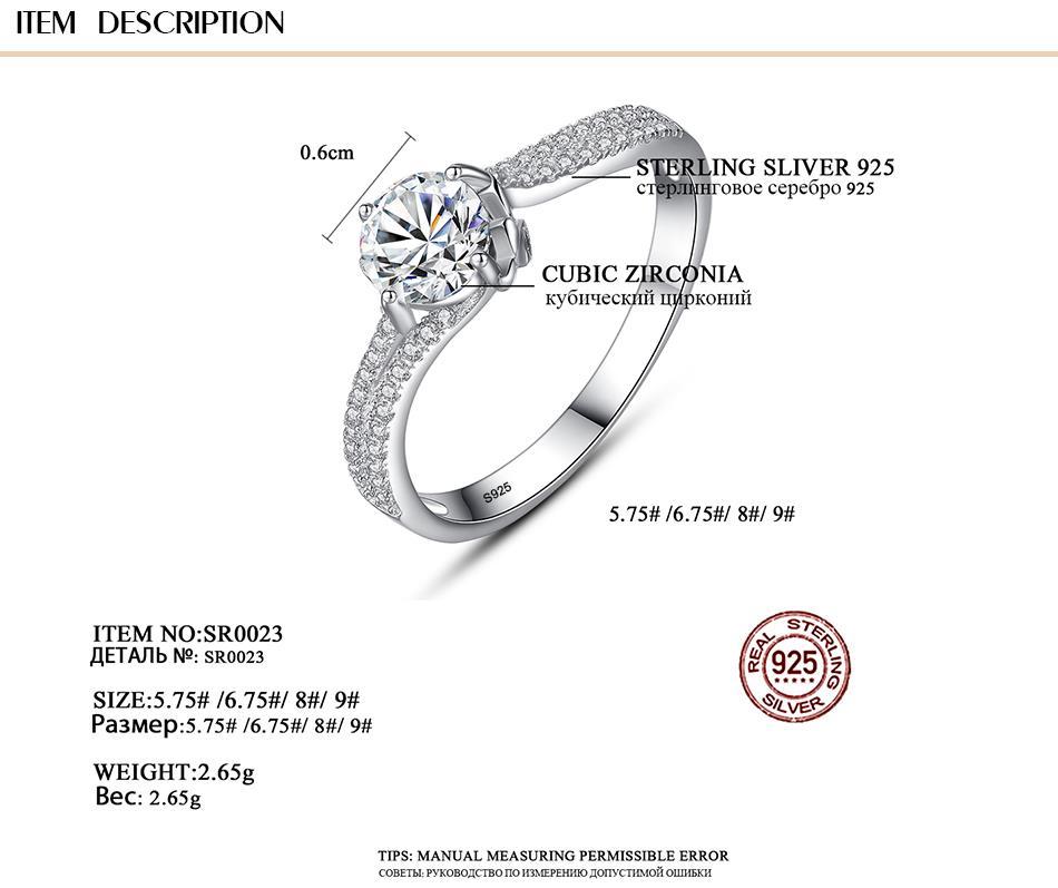 Anneau pour Femmes Argent 925 Diamant Zircon 1 Carat
