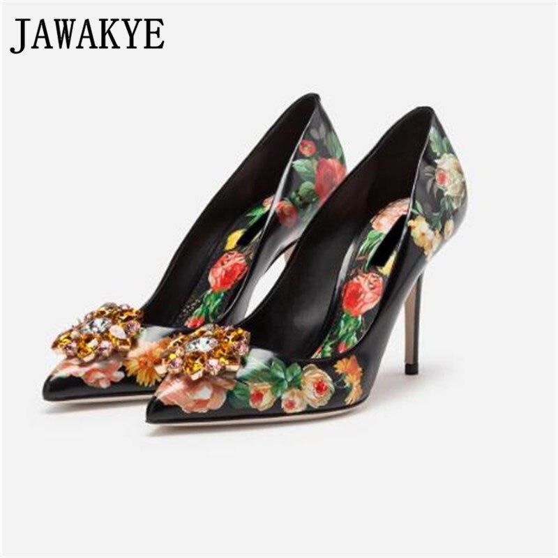 Fashion Rhinestone printing Pumps women Pointed Toe leather retro shoes woman shallow thin heel dress shoes