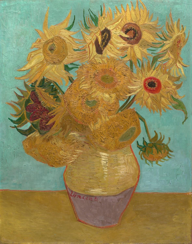 sonnenblumen vase mit zw lf sonnenblumen vincent van gogh in sonnenblumen vase mit zw lf. Black Bedroom Furniture Sets. Home Design Ideas