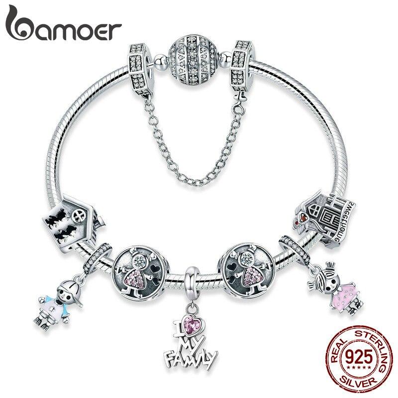 BAMOER 100% стерлингового серебра 925 сладкий Семья подарок для маленьких мальчиков и девочек Браслеты и браслеты для Для женщин Серебряные ювели...