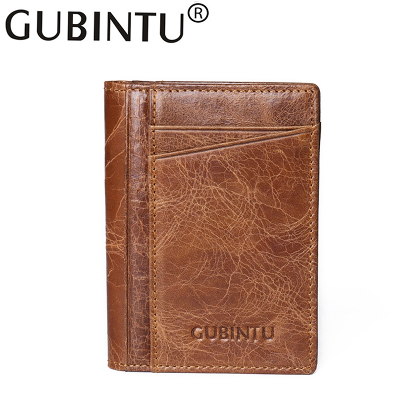 For Fashion Mens Money Bag Carteras Small Mini Purse Crazy Smart Rfid Card Holder Wallet Leather Genuine