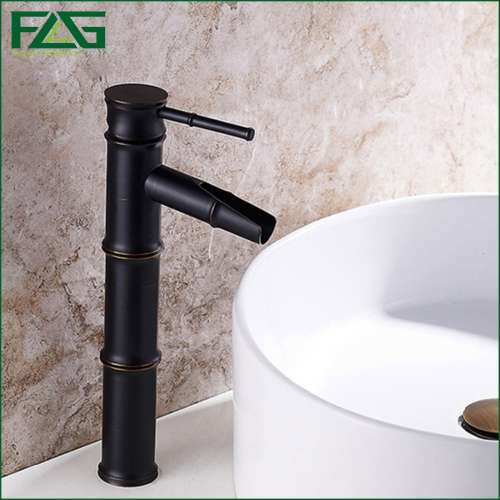 ФОТО FLG Home Decoration Bath Mat Bamboo Vessel Filler Grifo Grohe Oil Rubbed Sink Faucet Cold&Hot Axe Art Basin Water Mixer Tap M005