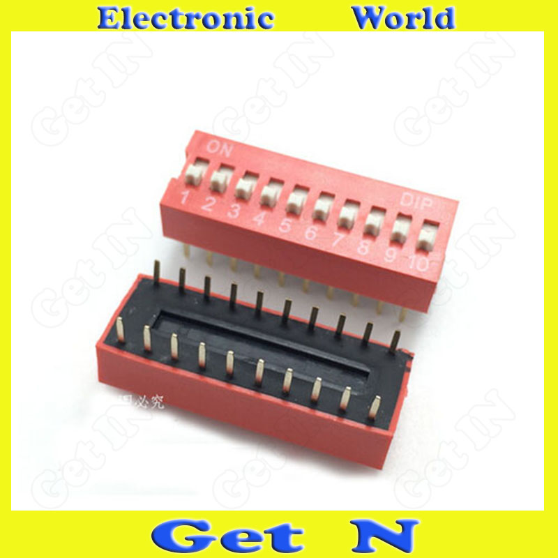 50pcs 2.54MM Codeing Switch Pitch 10 Positions 20Pins DIP Foot DIP Switches Red High Quality