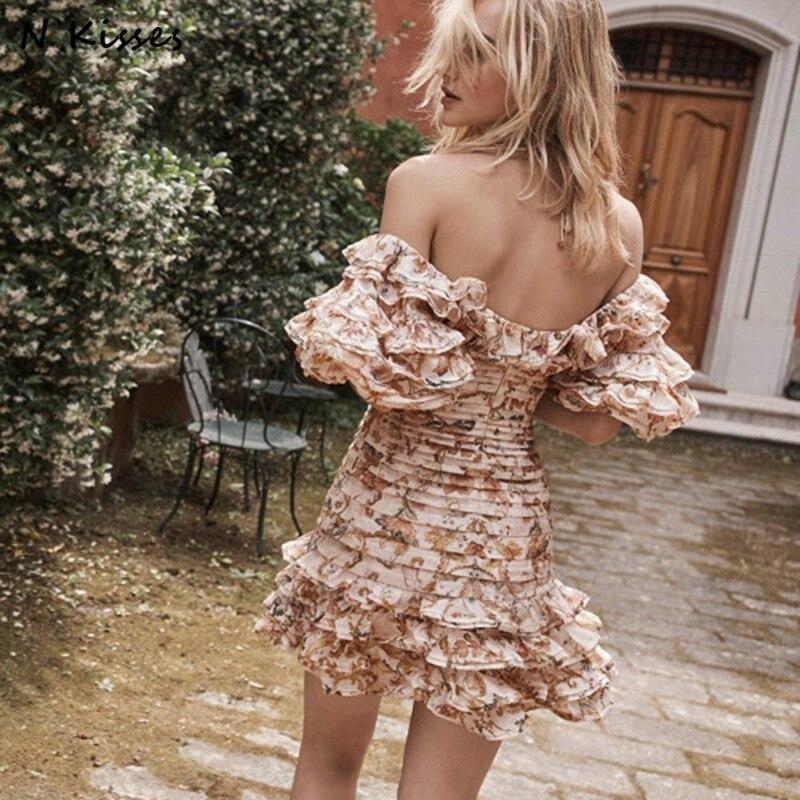 2018 printemps imprimer plage Style mode fille hors épaule à volants manches courtes lanterne Sexy Vocation Mini femmes robe taille XL