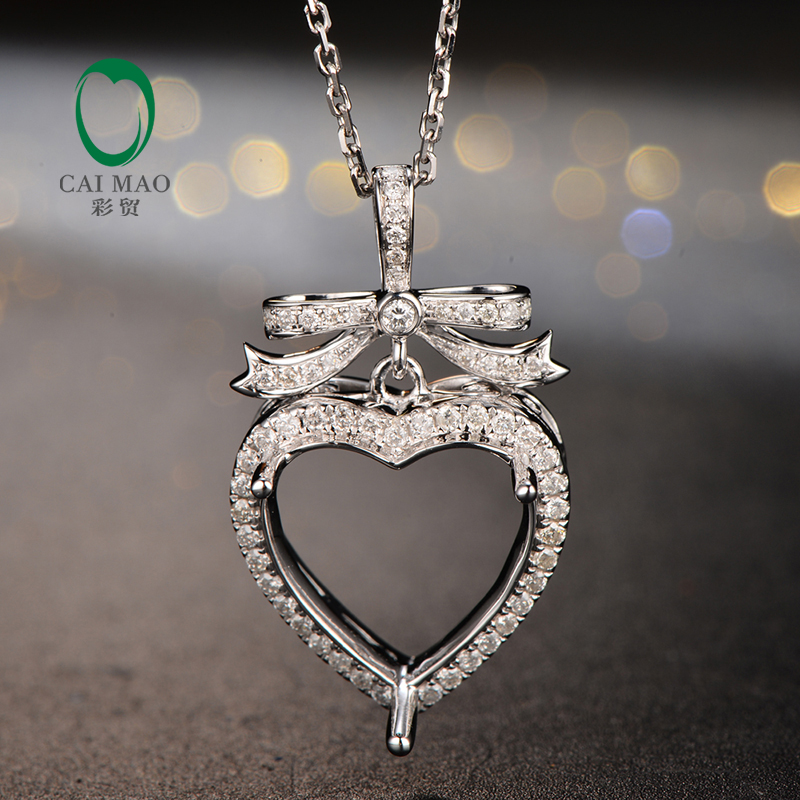 Caimao 13x13mm heart cut semi mount pendant settings 038 ct caimao 13x13mm heart cut semi mount pendant settings 038 ct diamond 14k white gold engagement fine jewelry in pendants from jewelry accessories on aloadofball Images
