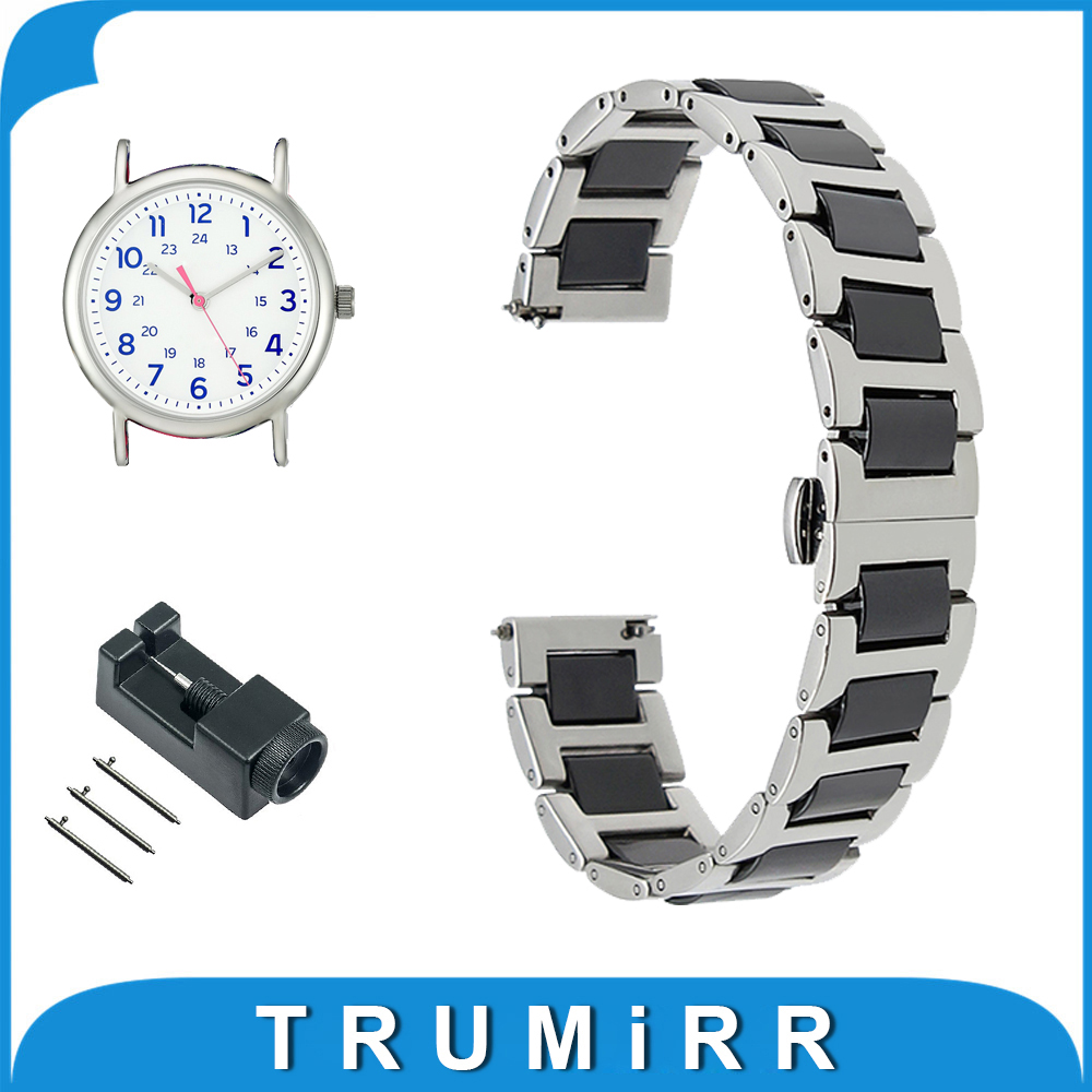 18mm 20mm 22mm Ceramic + Stainless Steel Watch Band for Timex Weekender Expedition Quick Release Strap Wrist Belt Bracelet timex часы timex tw4b03500 коллекция expedition
