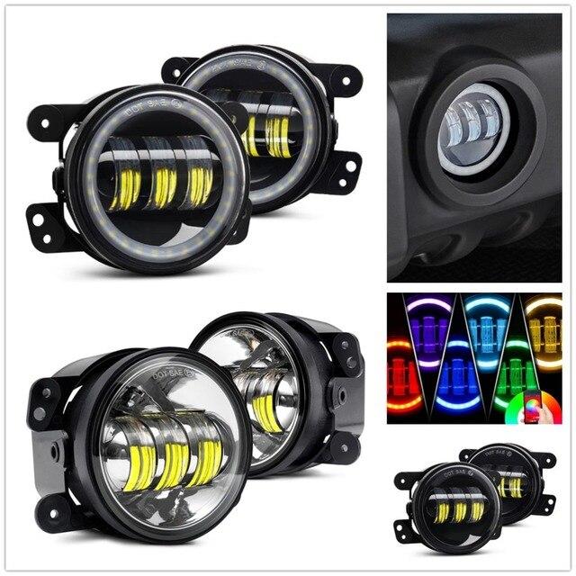 For Jeep Wrangler JK Dodge Magnum Chrysler PT Cruiser 4 Inch LED Fog Lights Bluetooth Control RGB/White Amber Halo Fog Lamp
