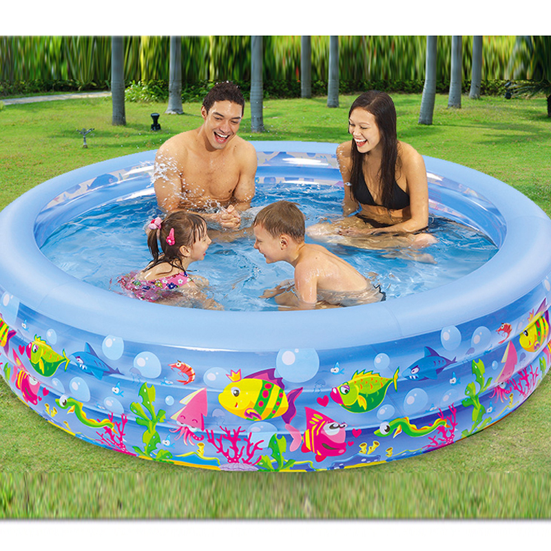 185cm*50cm round 3 annular children inflatable swimming pool baby swimming pool family children inflatable indoor swimming pool bestway round baby pool baby wading pool thick folder mesh stent pool children bathing pool 152 38cm