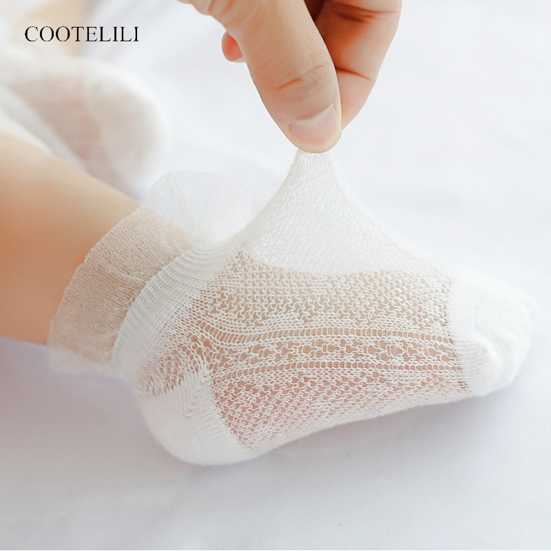 COOTELILI 4pairs/Lot Summer Baby Girls Socks Hollowed-Out Lace Toddler Socks Baby Girls Accessories 0-3y Baby Stuff For Newborns