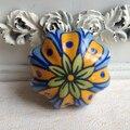 Diâmetro 43mm Floral pintados à mão cerâmica abóbora puxadores Armário gabinete Knob gaveta Closet Dresser alças puxa