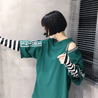 Ulzzang Source Of The Wind Two Long Sleeved Stripe Mosaic Strapless False Letters Printed Long