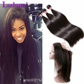 360 Lace Frontal With Hair Bundles Peruvian Virgin Hair Straight With Closure Human Hair 3 Bundles With 360 Lace Frontal Closure
