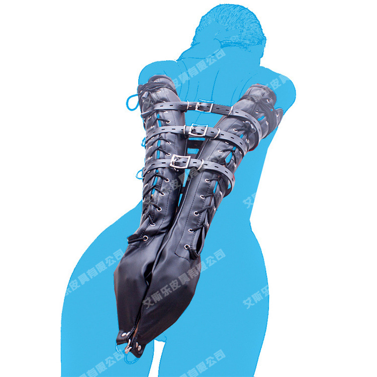 Hot Adult Games Lace-Up Long Arm Gloves Bondage Leather Tight Arm Restraint Gloves Positioning Bandage Sex Toys Sex Products