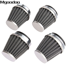 Mgoodoo 4x 52mm Double Layer Steel Air Filter Gauze Clamp-on Cleaner Pods ATV Scooter Minibike Dirtbike For Honda KTM Yamaha