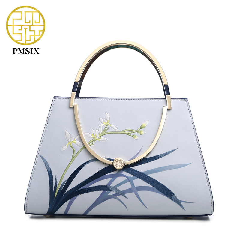 Pmsix 2020 Fashion Embroidery Cow Leather Women's Handbag Designer Elegant Shoulder Bag Brand High Capacity Lady's Messenger Bag