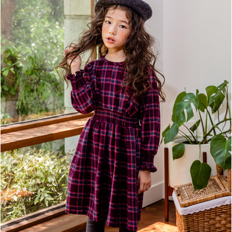 Brand Designs Girls Plaid Dress Winter Thick Warm Casual Princess Kids Dresses for Girls Party Dress Kid Age 9 10 11 12 14 Years plaid belted vintage dress page 9