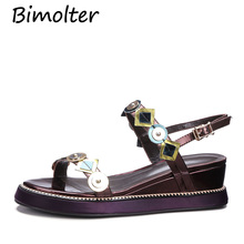 Bimolter Women Genuine Leather Sandals Fashion Flat Gril Summer Shoes Ladies Girls Floral White C091