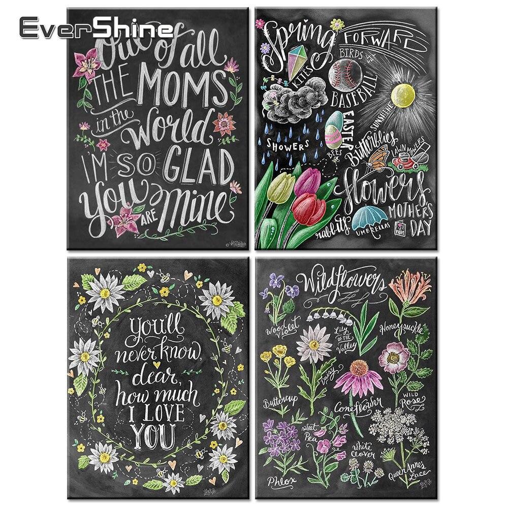 2 98 50 De Réduction Evershine Nouveauté Diamant Broderie Fleur Photos 5d Diamant Peinture Pleine Ronde Tableau Noir Dessin Fleur Mur Décor In