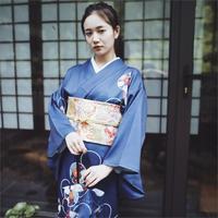 2019 SELLWORLDER Japanese Kimono Style yukata retro Girl blue dress Woman floral print Long Dress with handbag