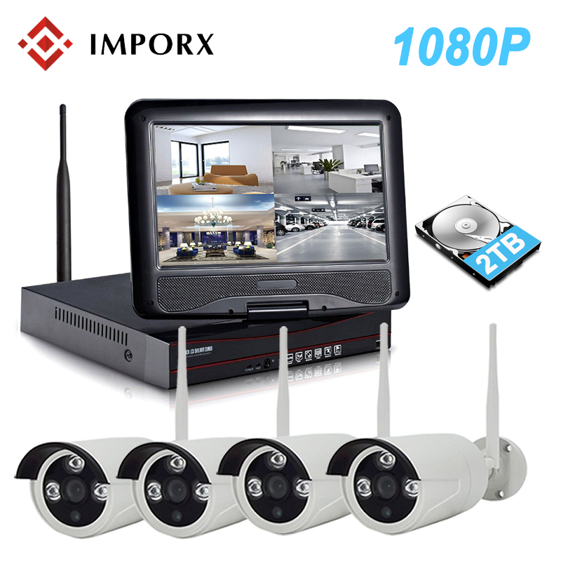 IMPORX NEW 2MP 4CH Wireless CCTV Camera Security System Kit With 10 Inch LCD 1080P HD Home Surveillance IP Camera System NVR Kit