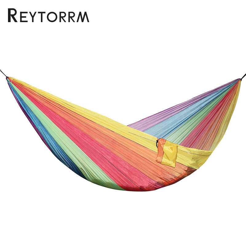 Colorful Printed Parachute Hammock For Outdoor Garden Survival Travel Camping Hamac Durable Leisure Hanging Swing Hamak thicken canvas single camping hammock outdoors durable breathable 280x80cm hammocks like parachute for traveling bushwalking
