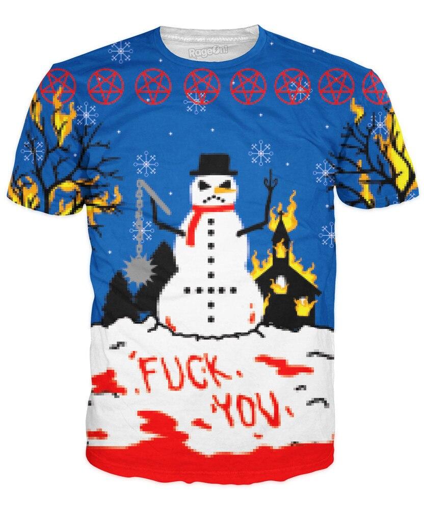 Black xmas t shirt - Hot Sale Christmas Black Hat 3d Mens T Shirt 3d Print Dirty Snowman Graphic T Shirt Fashion Funny Short Sleeved Hip Hop Tops