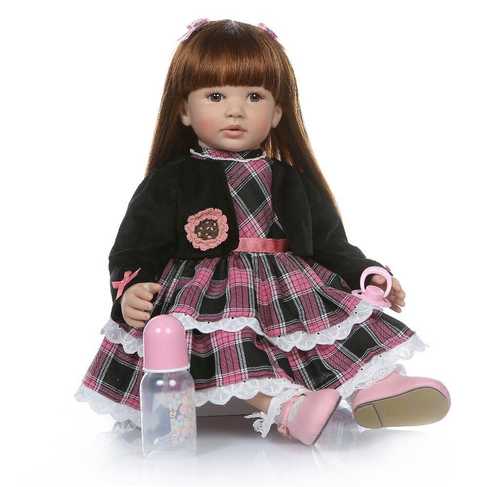 6 mes tamaño bebé real 60 CM renace niño chica realista de silicona de vinilo bebe muñeca de pelo largo y recto juguete de la educación-in Muñecas from Juguetes y pasatiempos    3