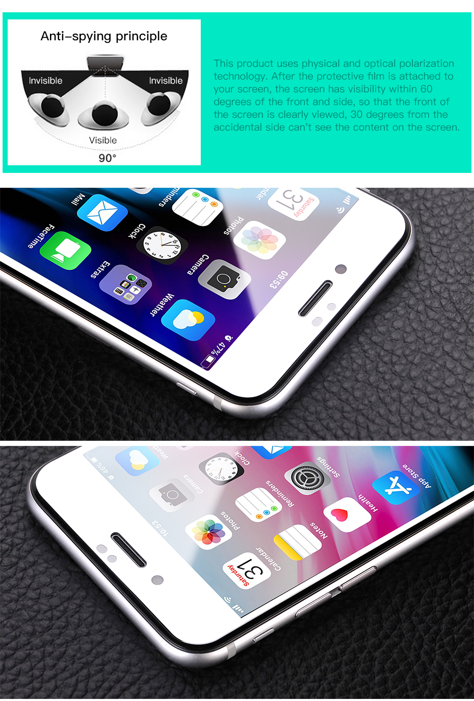 HOCO for Apple iPhone 7 8 Plus Anti Spy Full Tempered Glass 3D Film Screen Protector Protective Cover Touch Screen Protection_04