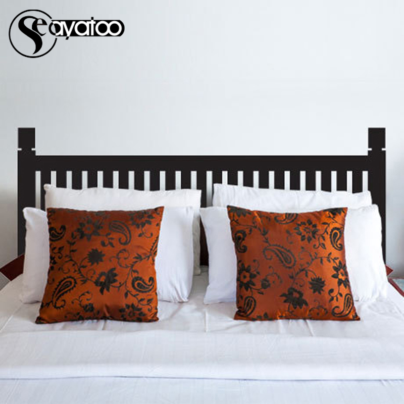 Modern Headboard Bed Board Removable Wall Vinyl Sticker Bedroom Art Stickers Decor 68x155cm