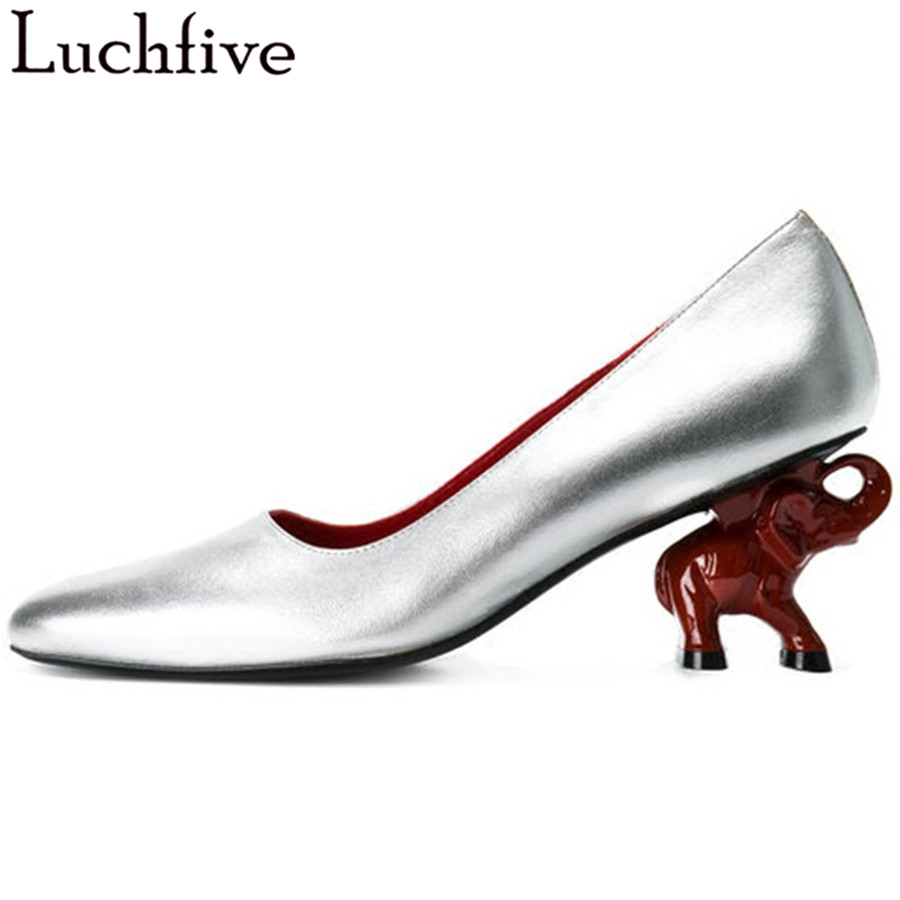 Lucfive Spring Pumps elephant high heels red silver balck shallow mouth Top quality leather party Shoes Women Chaussure Femme koovan women pumps high heels 2017 spring autumn tide diamond tip fine single shoes satin pearl shallow mouth women sandals
