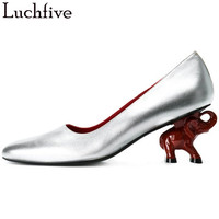 Lucfive Spring Pumps elephant high heels red silver balck shallow mouth Top quality leather party Shoes Women Chaussure Femme