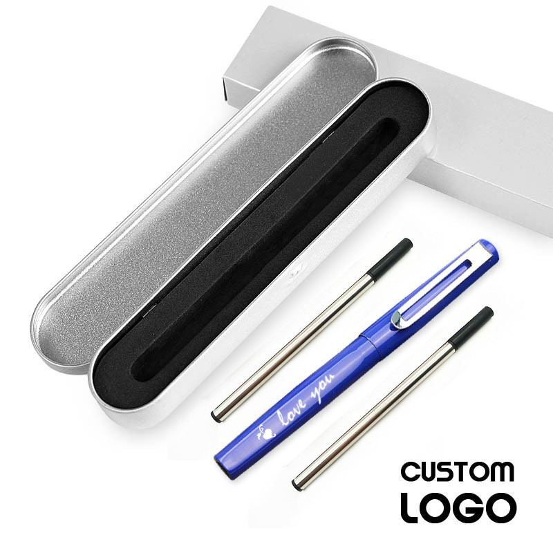 1pcs High Grade New Design Company Logo Gift Ideas Laser Engraved Metal Pens Customized With Your and Web Url And Contacts