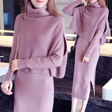 pullover Sweater long cutou dress two pcs clothing set new sharp suits long-sleeved 2018 fall and winter knitwear women