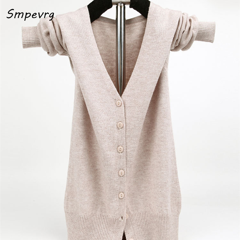 smpevrg 2017 autumn winter cashmere women sweater and cardigans long sleeve big V-neck  knitted cardigan soft wool clothes