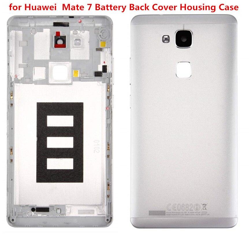 Huawei Mate 7 için pil arka kapak konut Case ile kamera lensi ile parmak İzi tarayıcı Flex kablo + güç ses düğmeleri + aracı