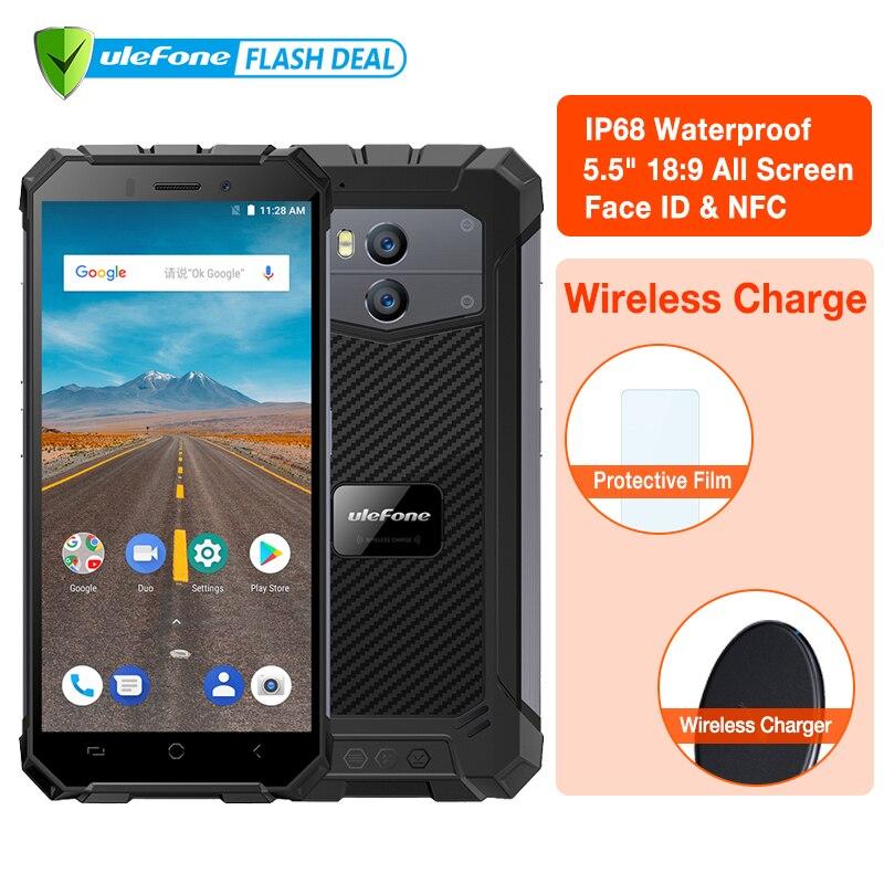 Ulefone Armor X Waterproof IP68 Android 8.1 2GB+16GB Smartphone 5.5 HD Quad Core 13MP NFC Face ID 5500mAh Wireless Charge Phone