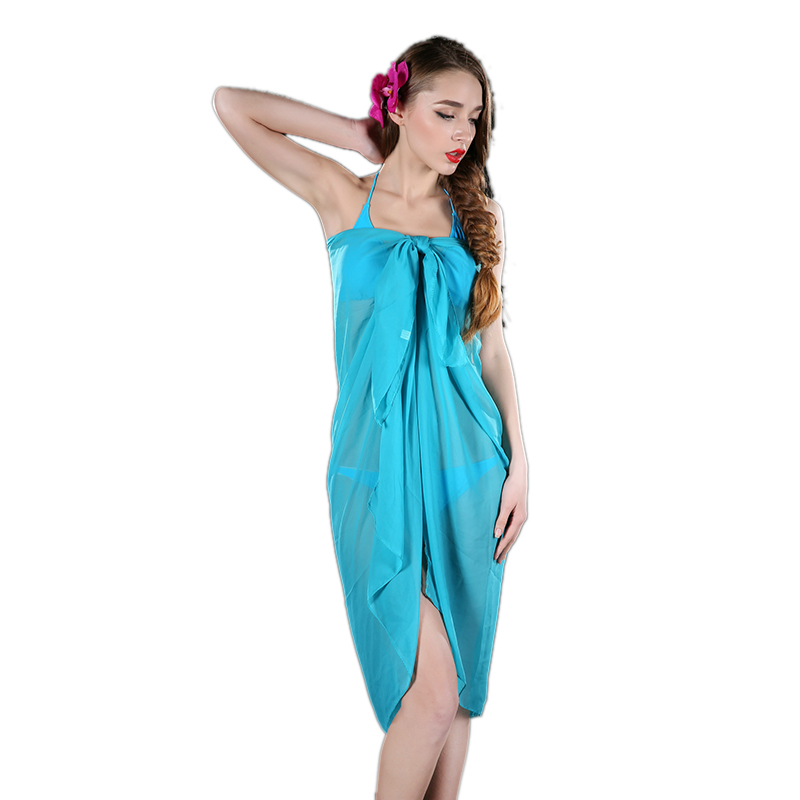 2017 Hot Selling Women Summer Solid Color Sexy Pareo Dresses Sarong Bikini Cover Ups Beach