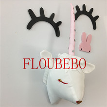 Animal Northern Europe Entrance Unicorn Head Horn Wall Hangings INS Doll Decoration Stuffed Child Toys Gift Cushion