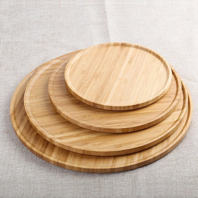 Round Bamboo Serving Storage Tray Tea Pastry Cake Tray Cheese Board Tableware Eco Friendly Wooden Plates & Round Bamboo Serving Storage Tray Tea Pastry Cake Tray Cheese Board ...