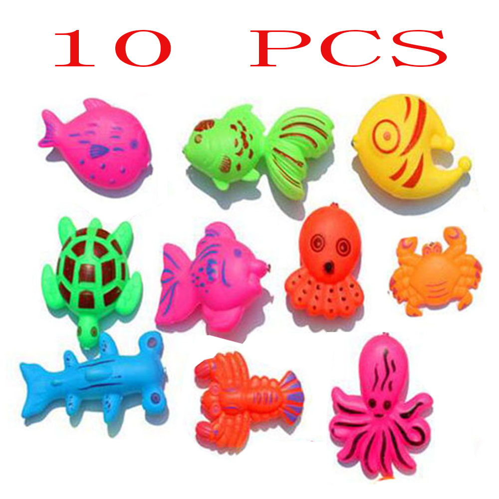 10pcs Magnetic Assorted Colors fish Toy Kid Fishing Game girl boy Baby Bath Toy Outdoor  ...