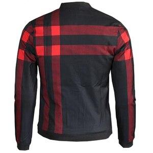 Image 3 - VISADA JAUNA 2020 Neue Ankunft männer Jacken Patchwork Casual Marke Kleidung Stehen Kragen Langarm Männlichen Outwear 5XL Plaid mantel