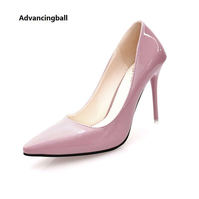 2017 new High Heels fashion women Pumps Sexy Ladies Solid color Patent leather wedding Shoes for woman luxury brand crystal patent leather sandals women high heels thick heel women shoes with heels wedding shoes ladies silver pumps