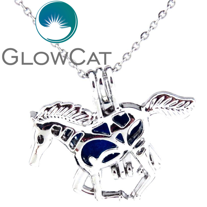Create Your own Pearls Horse Beads Cage Heart Stainless Steel Chain Rocks Stones Horse Locket Necklace