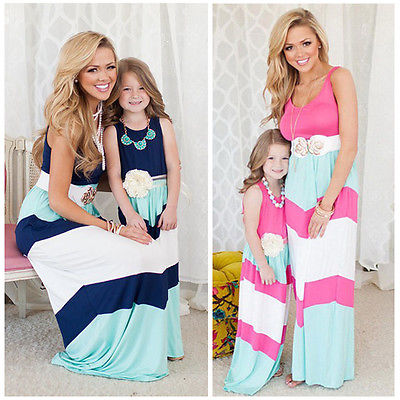 2016 New Mother Daughter Dress Women Dress Girls Stripe Stitching Party Maxi Long Dress