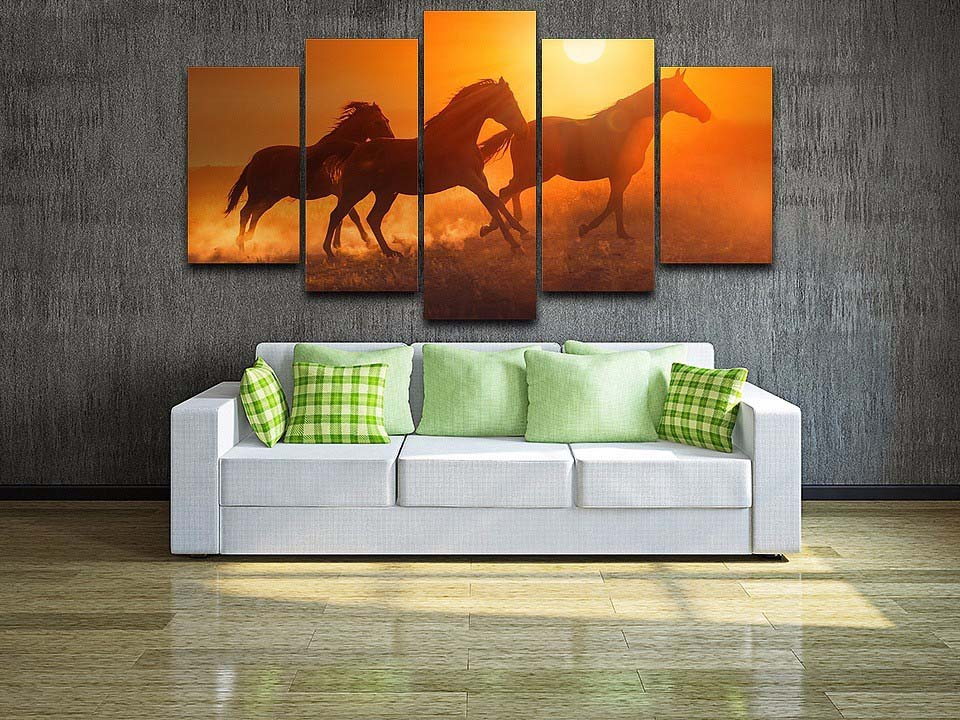 Wall Canvas Art Painting Poster Framework Home Decorative 5 Panels Picture Sunset Animal Horses Modern HD Printed Modular Photos