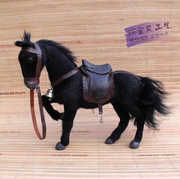 Mignon cheval de simulation jouet polyéthylène & fourrures noir cheval modèle avec selle cadeau environ 24x6x20 cm 1431