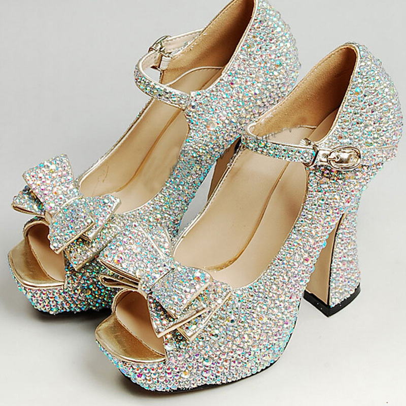 Sparkling Ab Crystal Prom Party Shoes Chunky Heel Bridal Wedding Open Toe Buckle Strap Women Fashion Platforms Pumps In S From On