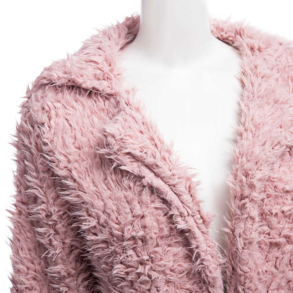 2019 зимнее серое шерстяное пальто теплая верхняя одежда женское розовое пальто из искусственного меха отложной воротник длинный рукав кардиган Женская верхняя одежда